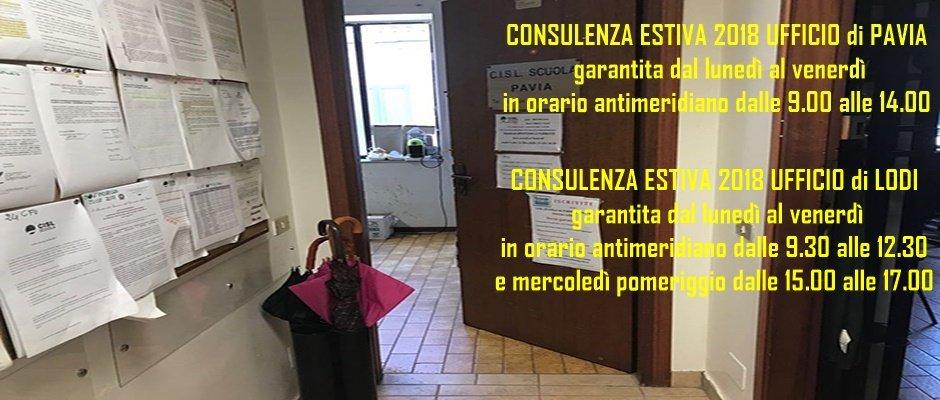 ORARIO ESTIVO Ufficio di Pavia e di Lodi