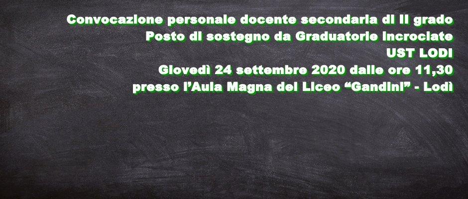 UST LODI: Convocazione personale docente secondaria II grado - posto di sostegno Graduatorie incrociate